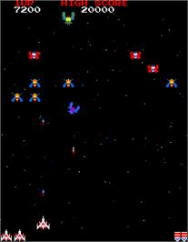 In game image of Galaga on the Arcade.