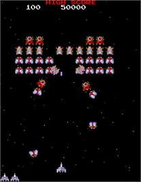 In game image of Galaga 3 on the Arcade.