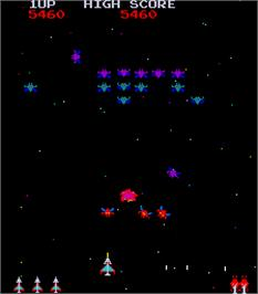 In game image of Galaxian Part 4 on the Arcade.