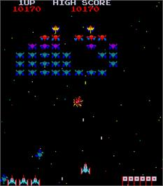 In game image of Galaxian Part X on the Arcade.