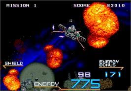 In game image of Galaxy Force 2 on the Arcade.
