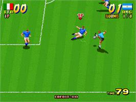 In game image of Goal! '92 on the Arcade.