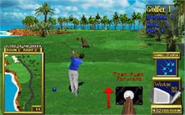 In game image of Golden Tee 3D Golf Tournament on the Arcade.