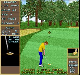 In game image of Golden Tee Golf on the Arcade.