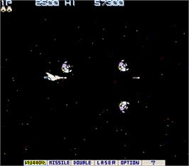 In game image of Gradius on the Arcade.