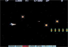 In game image of Gradius III on the Arcade.