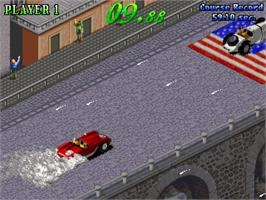 In game image of Great 1000 Miles Rally: U.S.A Version! on the Arcade.
