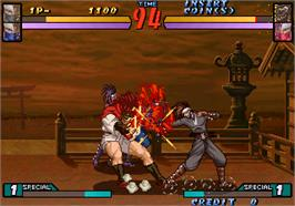 In game image of Groove on Fight - Gouketsuji Ichizoku 3 on the Arcade.