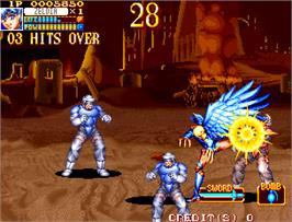 In game image of Guardians / Denjin Makai II on the Arcade.