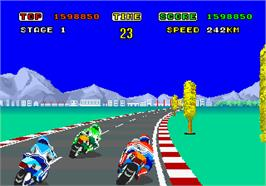 In game image of Hang-On on the Arcade.