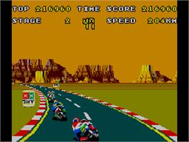 In game image of Hang-On Jr. on the Arcade.