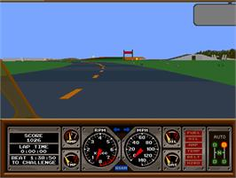 In game image of Hard Drivin' on the Arcade.