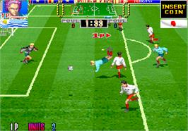 In game image of Hat Trick Hero '93 on the Arcade.