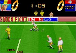 In game image of Hat Trick Hero '94 on the Arcade.