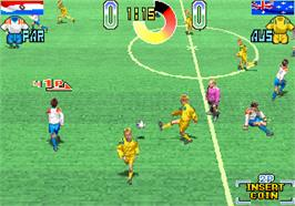 In game image of Hat Trick Hero '95 on the Arcade.