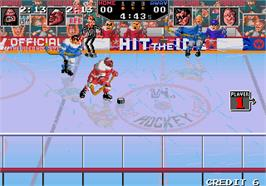 In game image of Hit the Ice on the Arcade.