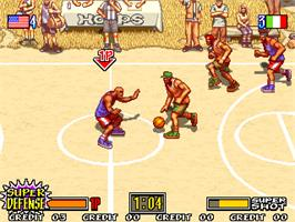 In game image of Hoops '96 on the Arcade.