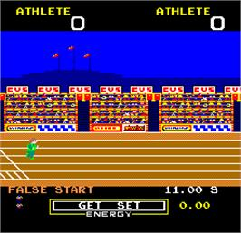 In game image of Hunchback Olympic on the Arcade.