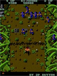 In game image of Ikari Warriors on the Arcade.