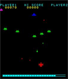 In game image of Invader's Revenge on the Arcade.