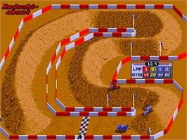 In game image of Ironman Ivan Stewart's Super Off-Road Track-Pak on the Arcade.