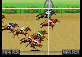 In game image of Jockey Grand Prix on the Arcade.