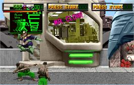 In game image of Judge Dredd on the Arcade.