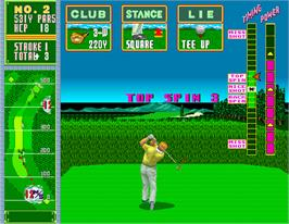 In game image of Jumbo Ozaki Super Masters Golf on the Arcade.
