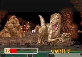 In game image of Jurassic Park on the Arcade.