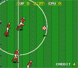 In game image of Kick Off on the Arcade.