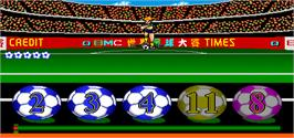 In game image of King of Football on the Arcade.