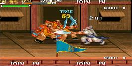 In game image of Knights of Valour Super Heroes / Sangoku Senki Super Heroes on the Arcade.