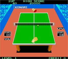 In game image of Konami's Ping-Pong on the Arcade.