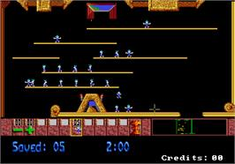 In game image of Lemmings on the Arcade.