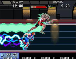 In game image of Mach Breakers - Numan Athletics 2 on the Arcade.