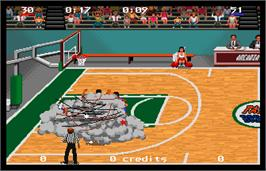 In game image of Magic Johnson's Fast Break on the Arcade.