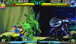 In game image of Marvel Super Heroes Vs. Street Fighter on the Arcade.