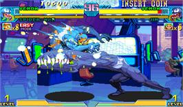 In game image of Marvel Vs. Capcom: Clash of Super Heroes on the Arcade.