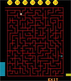 In game image of Merlins Money Maze on the Arcade.