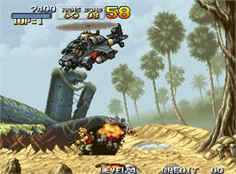 In game image of Metal Slug - Super Vehicle-001 on the Arcade.
