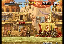In game image of Metal Slug 2 - Super Vehicle-001/II on the Arcade.