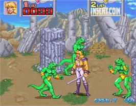 In game image of Metamorphic Force on the Arcade.