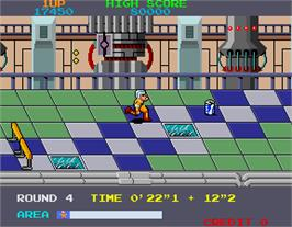 In game image of Metro-Cross on the Arcade.