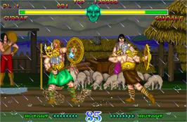 In game image of Mighty Warriors on the Arcade.