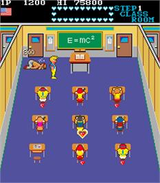 In game image of Mikie on the Arcade.