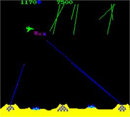 In game image of Missile Command on the Arcade.