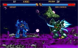 In game image of Mobile Suit Gundam on the Arcade.