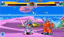 In game image of Mobile Suit Gundam EX Revue on the Arcade.