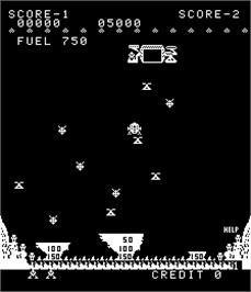 In game image of Moon Lander on the Arcade.