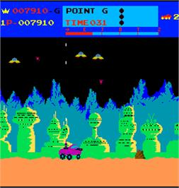 In game image of Moon Patrol on the Arcade.